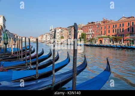 Venedig, Italien. Angedockt Gondeln und Paläste mit Blick auf den Canal Grande an einem sonnigen Tag