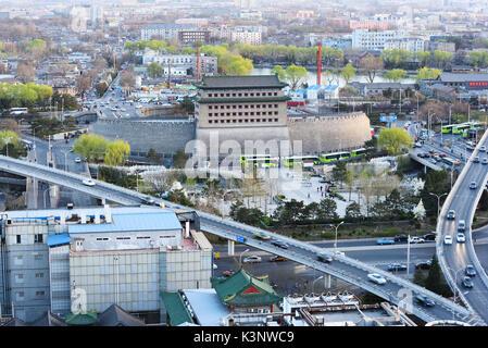 Deshengmen Pfeil Turm Landschaft, es verwendet eines der Stadttore des alten Peking zu sein. - Stockfoto