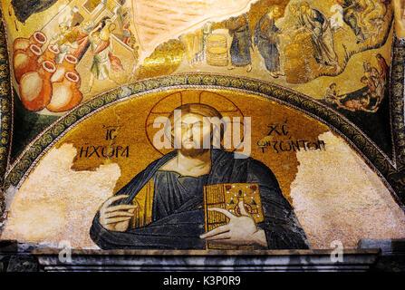 Christliche byzantinische Fresken in Chora Kirche, Istanbul, Türkei. - Stockfoto