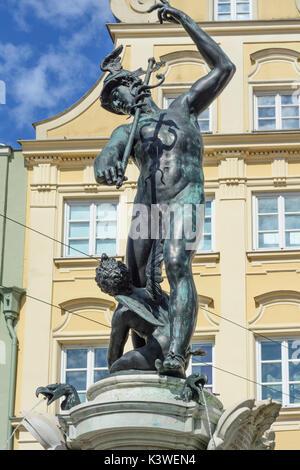 Brunnen Merkurbrunnen, Augsburg, Schwaben, Schwaben, Bayern, Bayern, Deutschland - Stockfoto