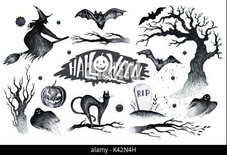 Halloween hand Zeichnung schwarz weiß Grafik Symbol, Symbole ...