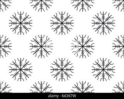 Galdrastafir nahtlose Muster Alte Runen, Runen miteinander verflochten. Vector Illustration - Stockfoto
