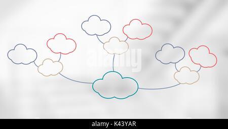 Digital composite von bunten Mind Map Wolken über dem hellen Hintergrund - Stockfoto