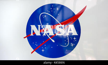 Emblem der NASA im Kennedy Space Center Besucher Komplex in Cape Canaveral, Florida - Stockfoto