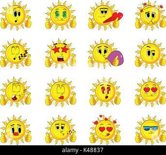 Cartoon sun, Daumen hoch mit zwei Händen. Sammlung mit verschiedenen Gesichtsausdrücke. Vektor einrichten. - Stockfoto