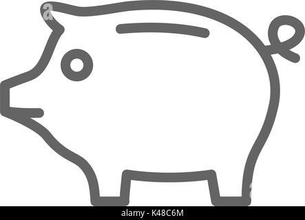Einfache piggy Bank Symbol Leitung. Symbol und Zeichen Vector Illustration Design. Editierbare Schlaganfall. Auf - Stockfoto