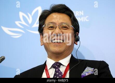 Wladiwostok, Russland. 6. Sep 2017. Tadashi Maeda, Chief Executive Officer, Geschäftsführer bei Japan Bank für Internationale - Stockfoto