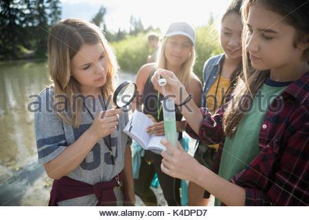 Lehrerin und neugierige Teenager outdoor Schüler wissenschaftliche Experiment in der Natur - Stockfoto