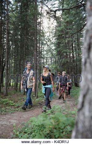 Lehrer führender Teenager outdoor Schüler Wandern auf Trail im Wald - Stockfoto