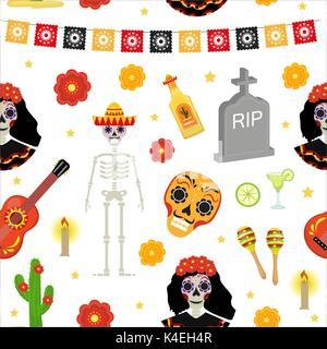 Tag der Toten Urlaub in Mexiko nahtlose Muster mit Zucker Schädel. Skelett endlose Hintergrund. Dia de Muertos wiederholende - Stockfoto