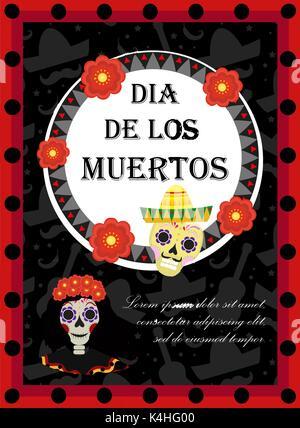 Tag der Toten Flyer, Poster, Einladung. Dia de Muertos Vorlage Karte für Ihr Design. Urlaub in Mexiko. Vector Illustration. - Stockfoto
