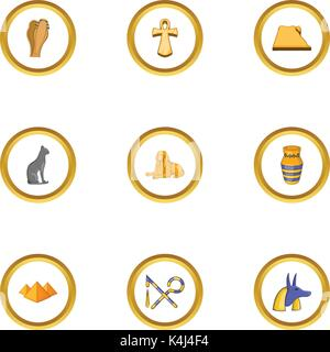 Ägypten-Icons set, cartoon-Stil - Stockfoto