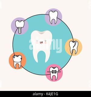 Zahn kawaii Karikatur mit geschlossenen Augen und lächelnde Ausdruck mit kreisförmigen Rahmens Symbole Zahnpflege - Stockfoto