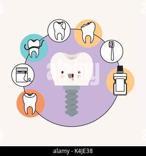 Zahn Implantat mit Schraube Zahnpflege kawaii Karikatur mit herausgestreckter Zunge Ausdruck mit kreisförmigen Rahmens - Stockfoto