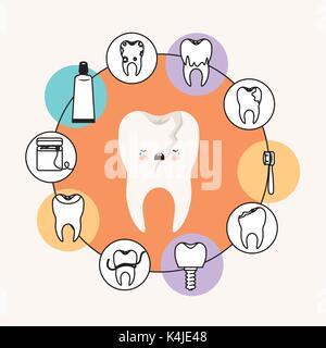 Kawaii Karikatur gebrochenen Zahn Zahnpflege mit Weinen Ausdruck mit kreisförmigen Rahmens Symbole Zahnpflege auf - Stockfoto