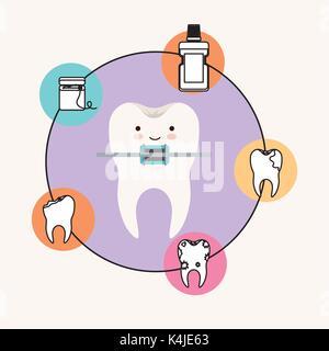 Zahn Karikatur mit der Strebe Zahnpflege mit Glück Ausdruck mit kreisförmigen Rahmens Symbole Zahnpflege auf weißem - Stockfoto