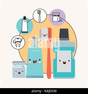 Zähne Freunde Zahnpflege Elemente kawaii Set mit anderen Ausdruck mit kreisförmigen Rahmens Symbole Zahnpflege auf - Stockfoto