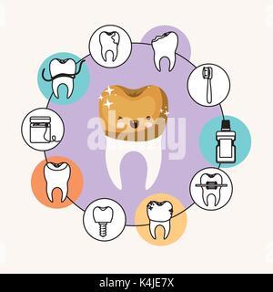Kawaii Zahn Karikatur mit goldenen Krone mit wink Auge und Glück Ausdruck mit kreisförmigen Rahmens Symbole Zahnpflege - Stockfoto