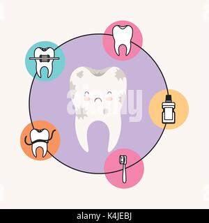 Kawaii Karikatur schmutzig Zahn Zahnpflege mit traurigen und weinenden Ausdruck mit kreisförmigen Rahmens Symbole - Stockfoto