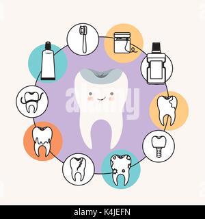 Kawaii Karikatur gesunder Zahn Zahnpflege mit Glück Ausdruck mit kreisförmigen Rahmens Symbole Zahnpflege auf weißem - Stockfoto