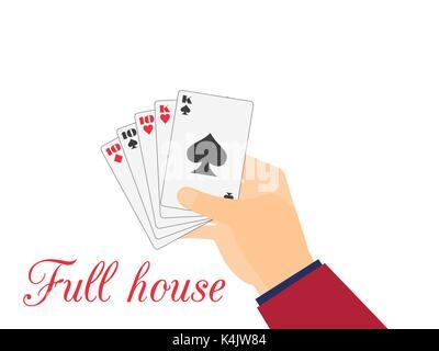 Hand mit Karten spielen. Full House 10 und Könige. Vector Illustration - Stockfoto