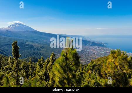 Blick auf den Vulkan Teide, Teide Nationalpark, UNESCO-Weltkulturerbe, Teneriffa, Kanarische Inseln, Spanien, Europa - Stockfoto