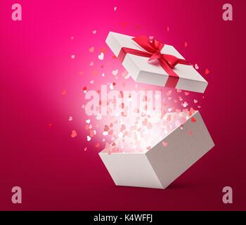 Herz Konfetti knallen aus weißen Geschenkbox - Stockfoto