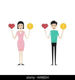 Der Mann und die Frau, Geschäftsleute, Manager oder Beamter mit der goldenen Münzen und rotes Herz Symbol auf seiner - Stockfoto