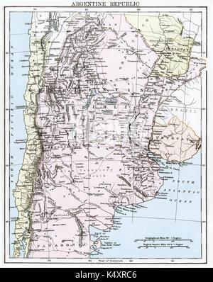 Antike Karte, ca. 1875, von Argentinien (Argentinien) - Stockfoto