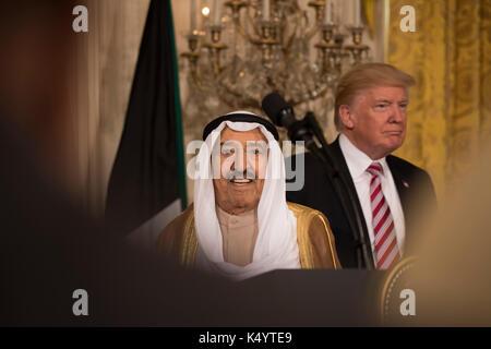 Washington, USA. 07 Sep, 2017. Washington DC, 7. September 2017, USA: Präsident Donald J Trumpf hält eine gemeinsame - Stockfoto