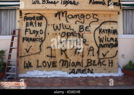 Miami Beach, Verlassen, vor Hurrikan Irma, 8. September 2017 - Stockfoto