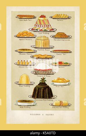 Weihnachten unterhaltsam VINTAGE VICTORIAN 1895 Mrs Beeton's Pudding und Kuchen Vintage Essen Kochbuch Seite Abbildung - Stockfoto