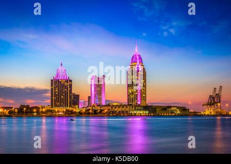 Mobile, Alabama, USA Downtown Skyline. Stockfoto
