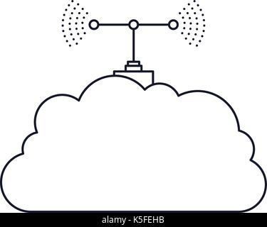 Getriebe Antennensymbol in Schwarzweiß silhouette gepunktete ...
