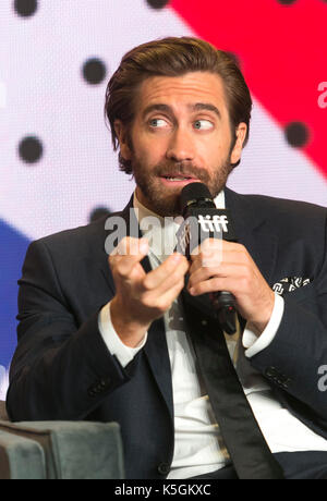 """Toronto, Kanada. 09 Sep, 2017. Jake Gyllenhaal nimmt an der Pressekonferenz der """"verstärkte"""" während der 42 Toronto - Stockfoto"""