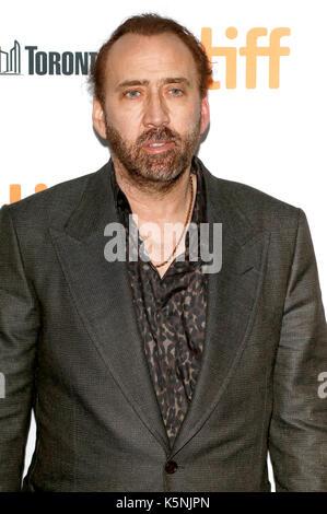 """Toronto, Kanada. 9. September 2017. Nicolas Cage die Teilnahme an der """"Mama und Papa"""" Premiere während der 42 Toronto - Stockfoto"""