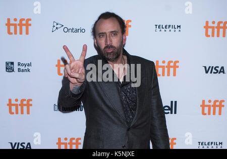 """Toronto, Kanada. 9 Sep, 2017. Schauspieler Nicolas Cage besucht die Weltpremiere des Films """"Mama und Papa"""", Ryerson - Stockfoto"""