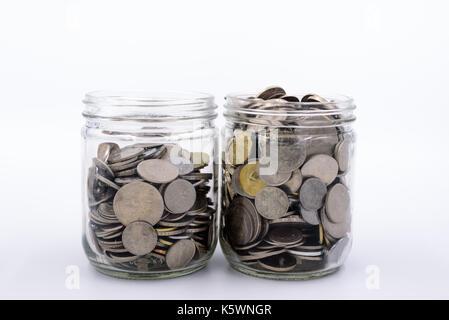 Malaysia Ringgit und Münzen in einem jar - Stockfoto