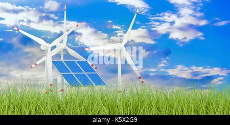 Erneuerbare Energie Konzept, 3D-Rendering - Stockfoto