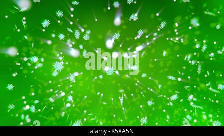 Frohe Weihnachten 3d Illustration mit glitzernden Schneeflocken, glänzenden Schneebälle, Punkten und Flecken, wirbelnde - Stockfoto