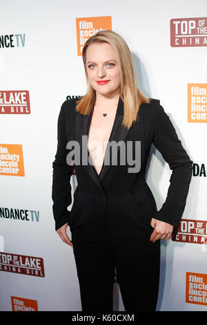 Elisabeth Moss kommt Premiere top See: Walter Reade Theater China girl Film Society des Lincoln Center in New York. - Stockfoto
