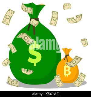 Flying Dollar vor dem Hintergrund Geld beutel. Bitcoin und Dollar Taschen. Flache Symbol auf dem weißen Hintergrund. - Stockfoto