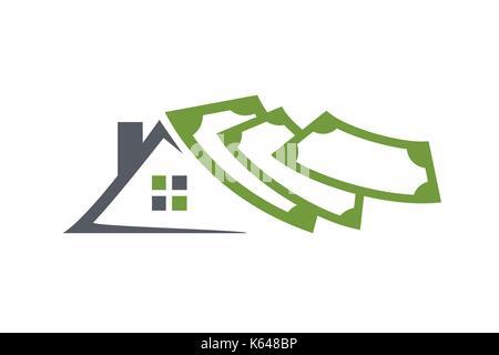Immobilien logo, Haus mit Geld logo investieren, Dach mit Geld, Illustration Design, auf weißem Hintergrund - Stockfoto