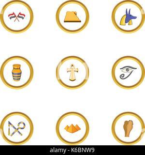 Ägypten Archäologie Symbole, Cartoon Stil - Stockfoto