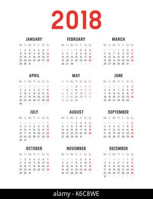 2018 minimalistische Kalender, auf weißem Hintergrund. Vector template-Wochen beginnen am Montag - Stockfoto