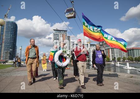 London, Großbritannien. 12. September 2017. Anti-kriegs-Proteste gegen DSEi Arme Fair (Defence and Security Equipment - Stockfoto