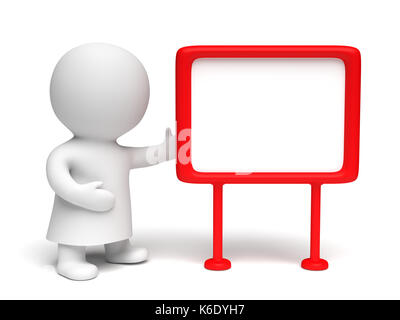Weiß menschliche 3D-Charakter trägt ein Kleid mit einem rot eingerahmten Blank Board in einem weißen Szene (3D-Abbildung - Stockfoto