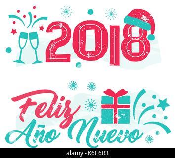 Feliz Ano Nuevo - Frohes neues Jahr die Spanische Sprache. - Stockfoto