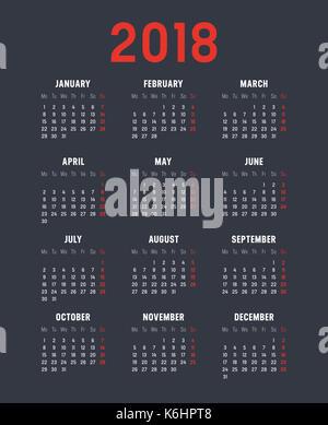 2018 minimalistische Kalender, auf schwarzem Hintergrund. - Stockfoto