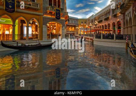 Das Venetian Las Vegas Gondeln - Innenansicht zu den Gondeln im Venetian Hotel & Casino in Las Vegas, Nevada. - Stockfoto